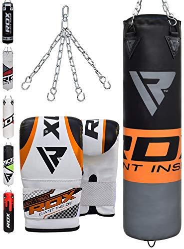 RDX MMA 4FT 5FT Sac De Frappe Lourd Mural Set De Boxe Rempli Pied Poing Kickboxing Cible