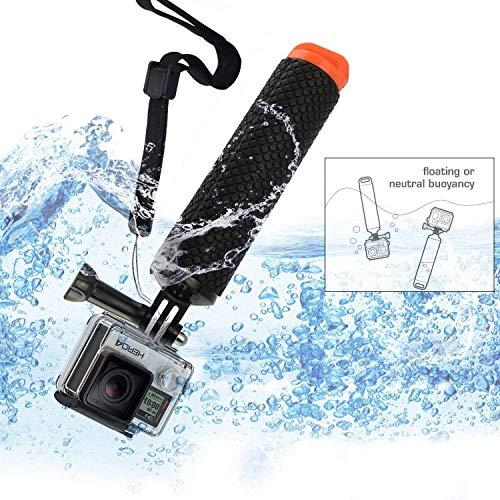 micros2u Poignée flottante de plongée pour GoPro Hero, caméra d'action,  intérieure creux pour rangement d'objets de petite taille, poignée en silicone texturé pour prise en main facile