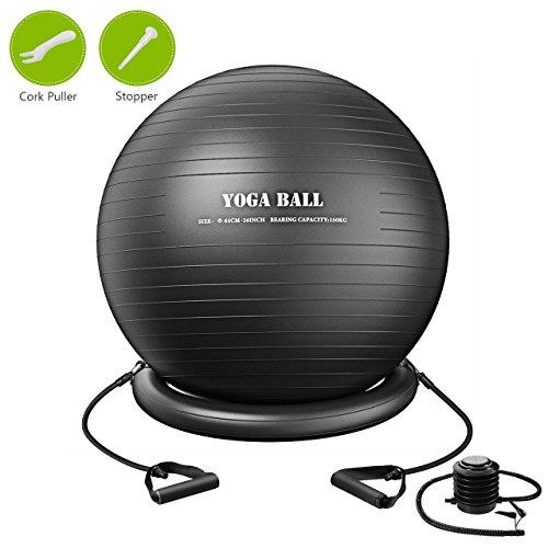 TOPELEK Balle Yoga 75cm, Ballon Fitness d'exercice Pompe Inclus, Ballon de Gymnastique Antidéparant avec Fitness Band Handle, Équipement de Fitness à la Maison, Gym