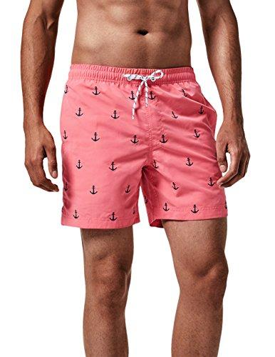 MaaMgic Homme Short de Bains Maillot de Bain avec Filet Style Tropical Voyage Pants Court de Sport Séchage Vite Bien pour Vacance a la Plage, Rose Ancre, Large(tour de taille:89~94cm)
