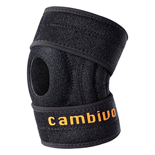 Genouillère CAMBIVO, soutien pour genou, atelle rotulienne ouvert pour la déchirure du ménisque, l'arthrite, les lésions du LCA, les sports athlétiques, un design optimal ajustable