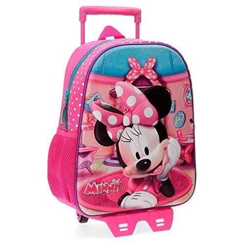 DisneySac à dos idéal pour la maternelle 33cm, avec chariot et partie frontale en 3D Minnie Smile Rose