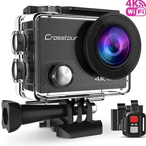 Crosstour 4K Caméra Sport 16MP WiFi Appareil Photo Étanche avec Microphone Externe Caméra Embarquée Stabilisateur Livrée avec 2 Batteries et Kit d'Accessoires pour Ski et Voyage (CT9000-SY-LEON)