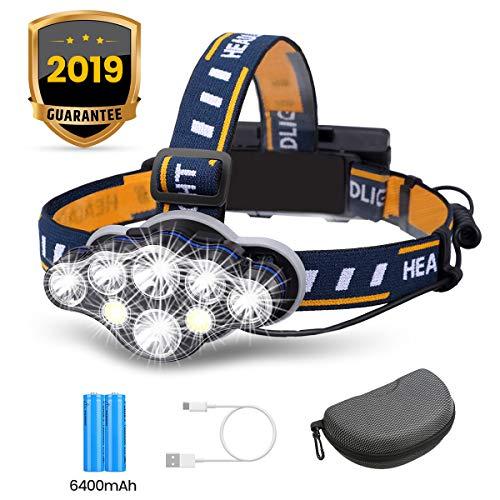 OUTERDO Lampe Frontale Super Brillante à 8 Del de 13 000 Lumens Lampe Frontale USB avec 2X Piles Imperméable pour Le Camping, la Pêche, la Cave, Le Jogging et la Randonnée