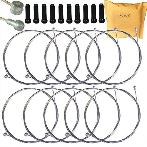 Yuauy Lot de 10 câbles de Frein universels de 2 m de Long pour vélo Moutain Bike VTT + 10 Embouts en Alliage Noir
