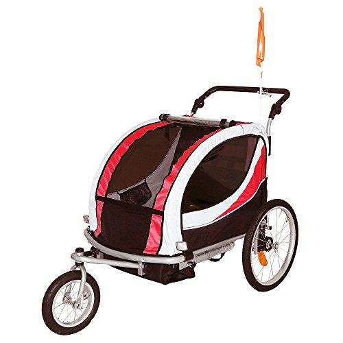 Tiggo Jogger Remorque à Vélo 2 en 1, pour Enfants + Amortisseur 802-D01 JBT03N - Rouge-Noir