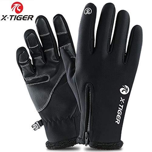 X-TIGER Gants de Toison Thermique Hiver Écran Tactile Homme-Confortables,Chauds,étanches,Protègent du Vent,Imperméables Cyclisme Gants-S