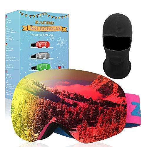 Zacro Ensemble de Lunettes de Ski,UV400 et Anti-Brouillard à Double Enduit,Conception OTG, Vrai Revo Lunettes,Convient pour Le Ski,Le Snowboard,l'escalade sur Glace, Le Ski Alpin,(Rouge)