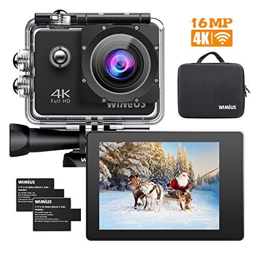 WiMiUS Q1 Caméra Sport 4k WIFI Ultra HD 16MP Caméra d'Action Sportive Etanche 40M 2' LCD Ecran, 170° Grand Angle Kit d'Accessoires avec 2 Batteries et Housse Portable (Noir)