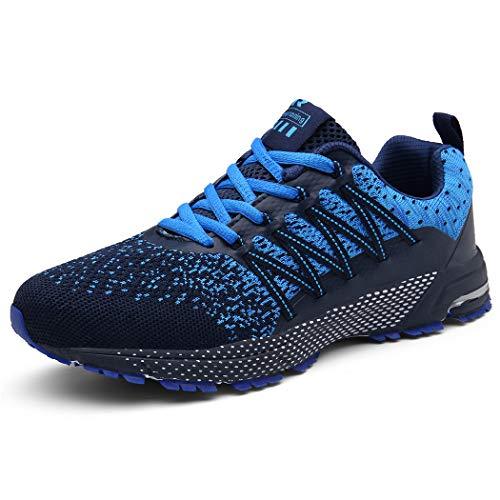 SOLLOMENSI Chaussures de Sport Running Basket Homme Course Trail Entraînement Fitness Tennis Respirantes 44 EU A Bleu