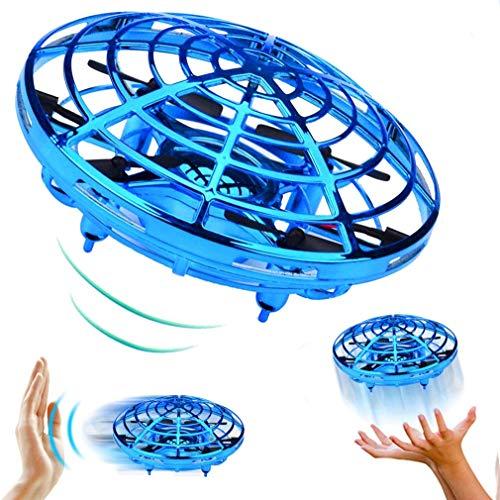 QKa Actionnés manuellement Drone - 5 Magique Capteurs Mains Libres Mini Drones Cadeaux Enfants Jouets Volants pour Les garçons et Les Filles, Fidget Volant Spinner,Bleu,1pcs