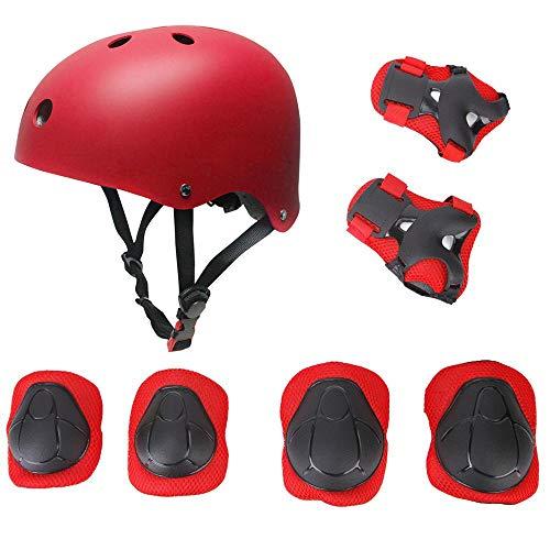Ensemble de vitesse de protection pour enfants, planche à roulettes de patin à roulettes BMX Scooter Cycling Pads de protection (genouillères + coudières + casques de poignet) Rouge