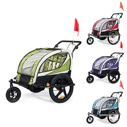 SAMAX Remorque Vélo convertible Jogger 2en1 360° rotatif Pour 2 Enfants Amortisseur Transport Poussette en Rouge - Silver Frame