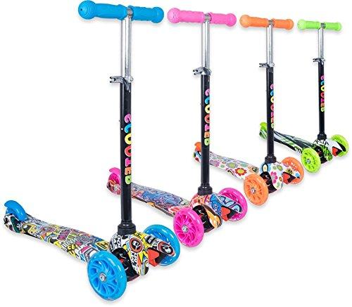 Trottinette 3 roues débutante pour enfant 2 à 10 ans idéal pour apprentissage, couleurs et motifs variés et des roues lumineuses et solides - Pour tourner : inclinez le guidon ! (Bleu motif, 3-5 ans)
