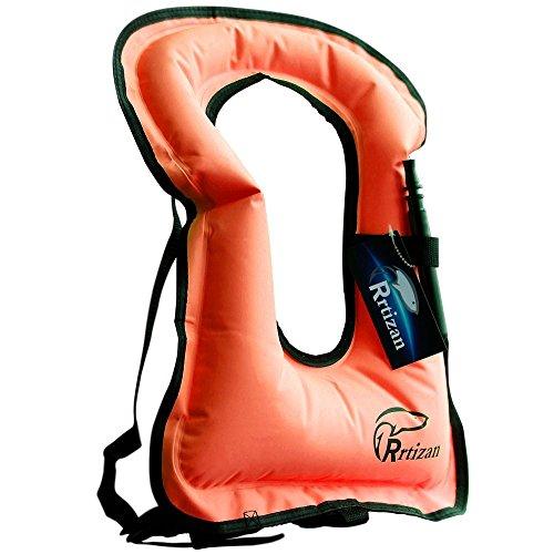 Rrtizan Adulte Unisexe Portable gonflable Tuba Gilet pour la plongée en toute sécurité XL orange