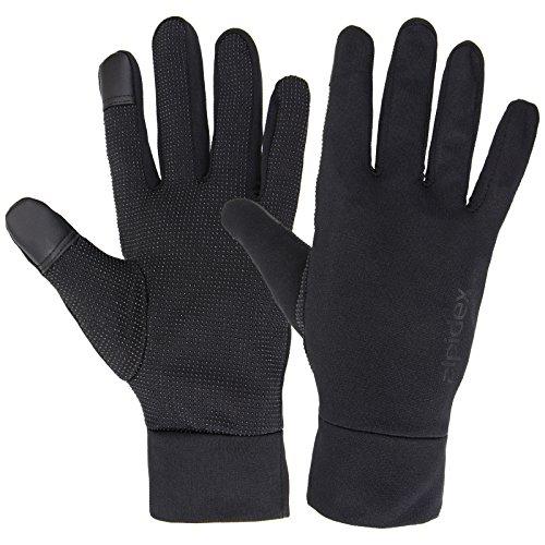 ALPIDEX Gants Sport Légers Tactiles Gants Course Thermique Antiderapant Femme Homme, Taille:S, Couleur:Black