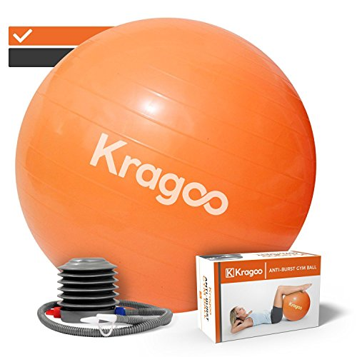 Kragoo - Ballon de Gym - Gros Ballon Grossesse - Anti-éclatement et Anti-dérapant - avec Gonfleur Inclus - en PVC Épais - pour Fitness, Pilates, Stretching, Yoga - Coloris Orange, Diamètre 75 cm