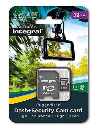Integral - Micro SD HC 32Go, Carte Mémoire Haute Endurance pour Dashcam Enregistreur de Conduite, jusqu'à 95Mb/s, Classe 10, U3 + Adaptateur SD