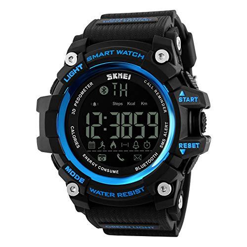 Hétanche Montre Intelligente/Fonction Bluetooth/Kilométrage Sportif/Consommation De Calories/Sport Podomètre/Lumière LED(Blue)