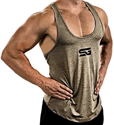 Satire Gym Débardeur Fitness pour Homme - vêtement de Sport Fonctionnel - Parfait pour Le Sport, Les entraînements - Marcel (Kaki chiné, M)