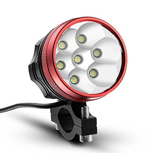 KINGTOP Lampe Frontale pour Vélo 10000lm 7x CREE XM-L T6 LED Phare Lumière de VTT avez le Feu Arrière pour Bicyclette Cyclisme, Rouge