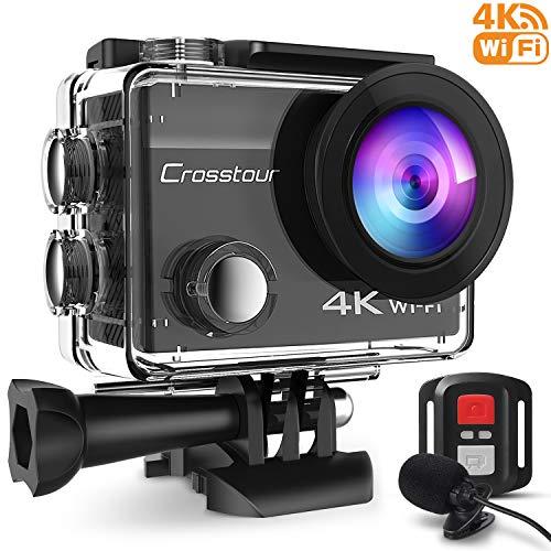 Crosstour 4K Caméra Sport 16MP WiFi Appareil Photo Étanche avec Microphone Externe Caméra Embarquée Stabilisateur Livrée avec 2 Batteries et Kit d'Accessoires pour Ski et Voyage