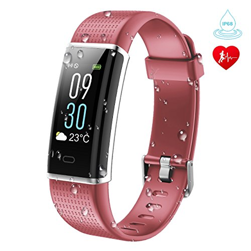 KARSEEN Fitness Tracker, Suiveur d'activité physique ID130plus Couleur avec moniteur de fréquence cardiaque IP68 La montre Waterproof Fitness pour Android&iOS Téléphone(rose)