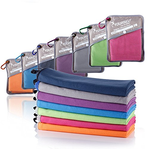 Syourself Serviette en microfibre à séchage rapide avec mousqueton et housse Taille XL/L/M/S, violet