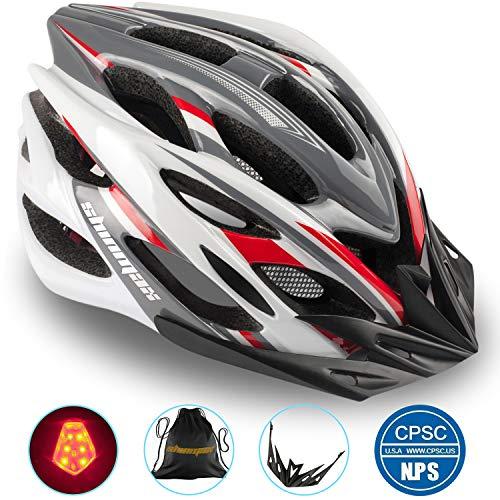 Shinmax Casque de Vélo Spécialisés Eclairage Sécurité Réglable Vélo Sport Casque Vélo Route VTT Moto Hommes Adultes Femmes Hommes Racing Protection Sécurité(Grisrougeblanc-Grande Lumière)
