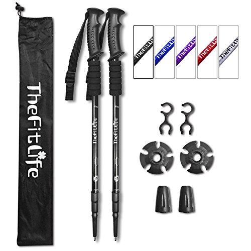 TheFitLife Paire de bâtons de Marche ultraléger, Pliable et Antichoc pour Marche Nordique, Alpinisme, randonnée, Trekking (Noir)