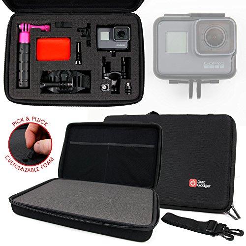 Duragadget Mallette de Rangement Personnalisable Rigide pour GoPro HERO5 Black Caméra d'action et HERO5 Session caméscope embarqué 10 et 12 Mpix