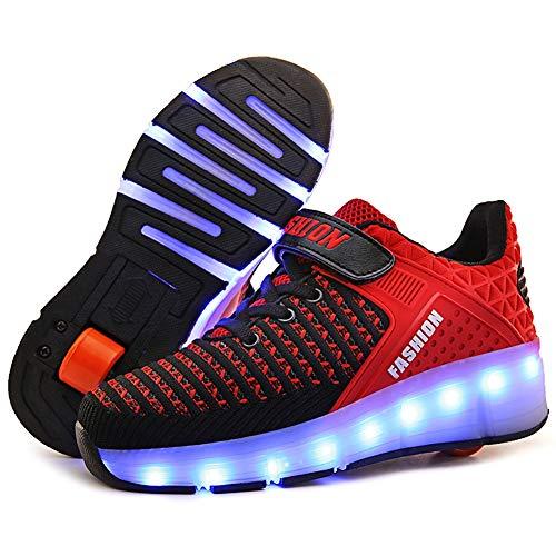 Enfants led chaussures à roulettes roues simples roue rétractable patins à roulettes clignotant charge coloré chaussures lumineuses formateurs de sports de plein air,Red,36EU