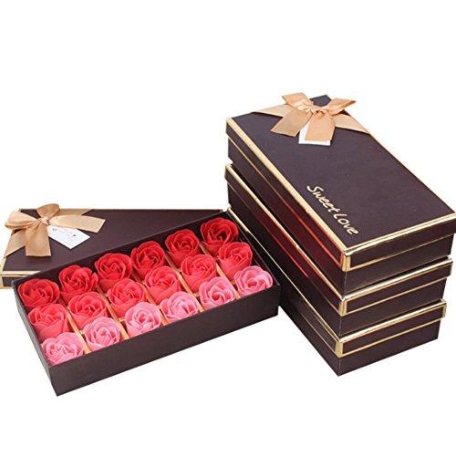 Y56 Lot de 18 sachets de Savon Rose parfumés en Forme de Feuille de Rose pour Le Corps de la fête de Mariage