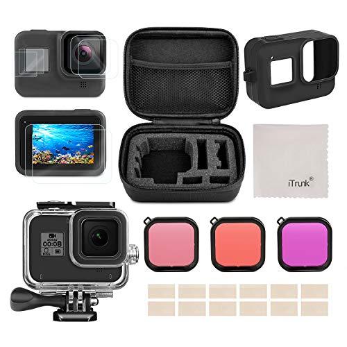 Kit d'accessoires pour GoPro Hero 8 Black Accessoires, iTrunk 24 in 1 Couverture en Silicone Antichocs Petit Boîtier Pack Protecteur d'écran boîtier étanche Filtre Rouge pour GoPro Hero 8 Action