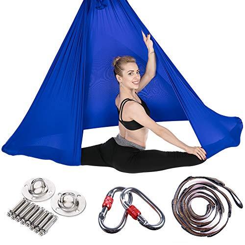JIALFA Hamac de Yoga Aérien Kits,Balançoire de Yoga en Soie pour Le Yoga Anti-gravité, Exercices d'inversion, flexibilité améliorée et Force de Base - Accessoires de Montage Inclus (Bleu Marin)