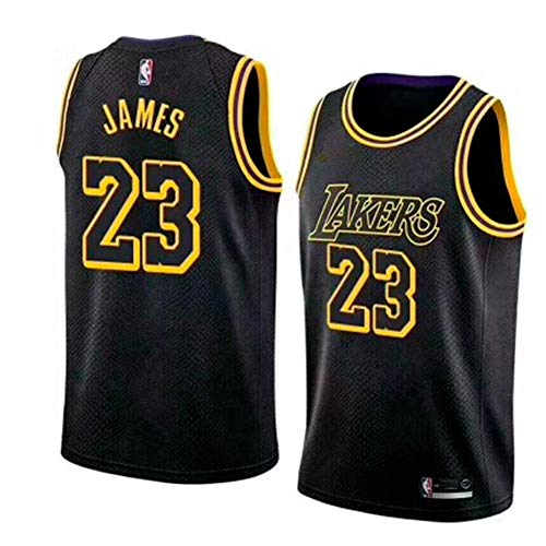 BeKing Maillot de Basketball Homme Lebron James #23 - NBA Lakers, Nouveau Tissu brodé Swingman Jersey Chemise (Taille: M-XXL)