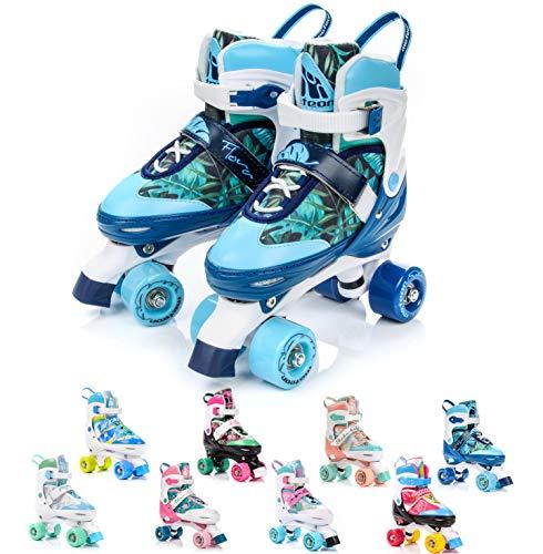 Patins à roulettes Roller Quad Enfant Haute Légère Confortable Roues Rapides fille Rollers reglables Unisexe pour de les star patines jouets protege avec des femme garcon homme (M (35-38), Flora)