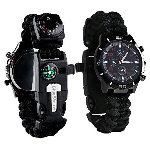Montre bracelet de survie ou secours 6fonctions–montre multifonction étanche en paracorde avec sifflet, allume-feu, grattoir, boussole et thermomètre, noir