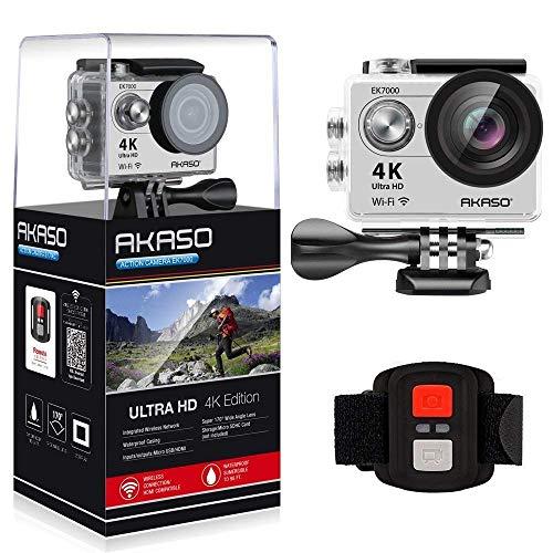 AKASO Caméra Sport Etanche 4k WiFi Action Cam 30fps, Caméscope Ultra HD, Écran LCD, Grand Angle 170°, 2 Batteries Rechargeables 1050mAh, 2.4GO Télécommande, 19 Kits d'Accessoires - Argent