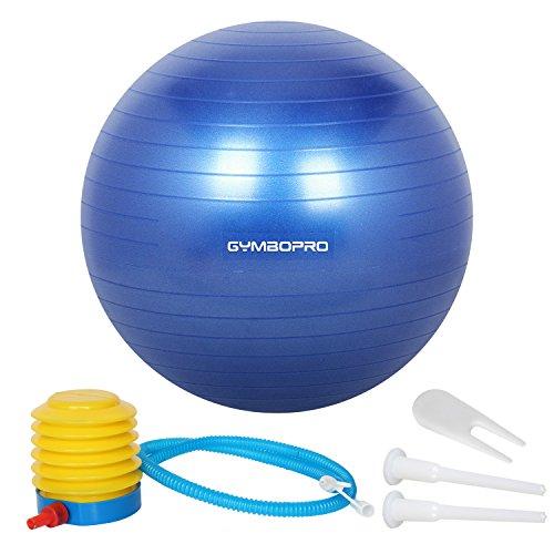 GYMBOPRO Ballon de Gymnastique, Balle de Fitness,Ballon d'exercice avec Pompe Rapide, Anti-éclatement et Anti-dérapant Yoga Ball (65 cm, Bleu)