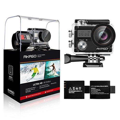 AKASO Caméra Sport Etanche 4k WiFi 20MP, Action Cam, Caméscope Ultra HD, Écran LCD, Grand Angle 170°, EIS 30M sous-Marine, 2 Batteries 1050mAh, 2.4GO Télécommande, Kits d'Accessoires … (Noir)