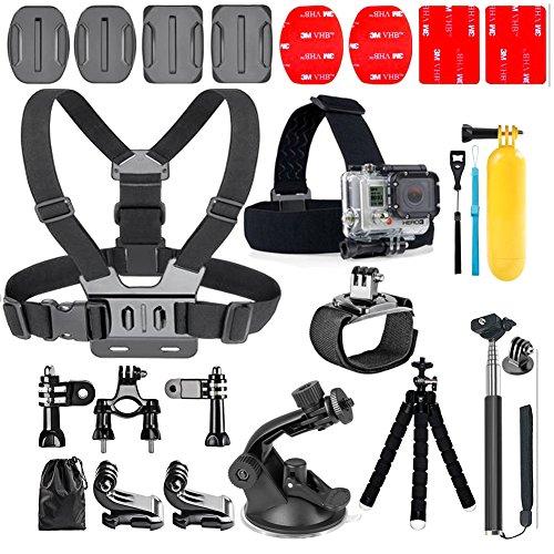 YHTSPORT 20-en-1 pour Gopro Accessoires, Action Camera Accessory Kit pour GoPro Hero Session Hero 6 5 4 3 SJ4000 Xiaomi Yi DBPOWER et autres caméras de sport (20 in 1)
