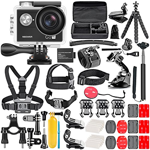 Neewer Kit de Caméra Action G1 Ultra HD 4K avec 12 MP, 30 mètres Sous-marin Etanche, Kit de Caméra Haute Technologie WiFi de 170 degrés avec 50-en-1 Accessoires