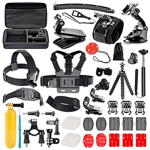 Followsun 52-en-1 Kit d'Accessoires pour Sport Action Caméra GoPro Hero Session/5 Hero 1 2 3 3+ 4 5 SJ4000 SJ7000 DBPOWER AKASO VicTsing APEMAN WiMiUS Rollei QUMOX Lightdow Campark et Sony Sports DV