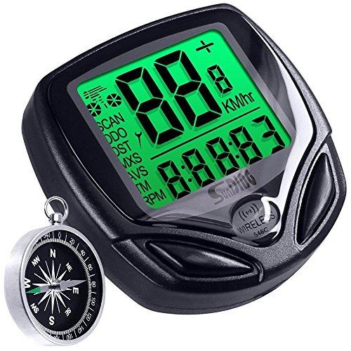 Ordinateur de vélo imperméable à l'eau avec boussole, compteur de vitesse sans fil DLAND avec grand écran LCD, compteur kilométrique de vélo, chronomètre de cyclisme, fonction Mult.