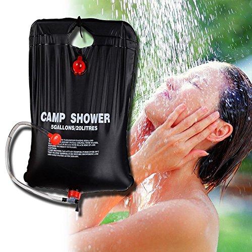 zoeson 20L/5Gallon chauffée au soleil en PVC léger et portable pour camping Sac de douche pour la randonnée et le camping