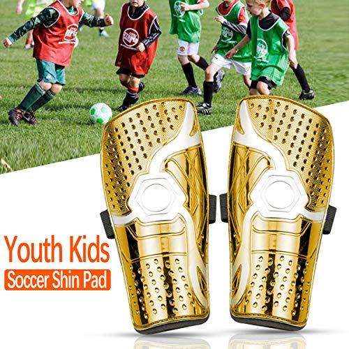 Protège-tibias de Football pour Enfants,Protecteurs de Football des Jambes Respirants Unisexes Convient pour l'équipement de Football avec Protection des Mollets pour Enfants de 6 à 12 Ans(Jaune)