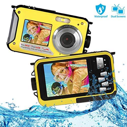 Appareil Photo Etanche FHD 1080P Camera sous Marine 24MP Appareil Photo Etanche Numérique Selfie à Double écran avec Zoom Numérique 16X Appareil Photo Compact pour la Plongée en Apnée