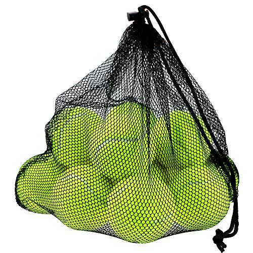Philonext 12 Pcs Balles de Tennis avec Sac de Transport Mesh, Balles pour Chien Chiot Lot Robuste et Durable réutilisable avec fermeture à corde Idéal pour Entrainement